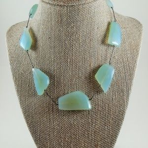 Sterling Big Chunky Milky Aquamarine Necklace